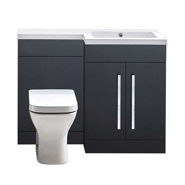 Harbour Icon 1100mm Left Hand Combination Bathroom Toilet & Sink Unit - Graphite Grey