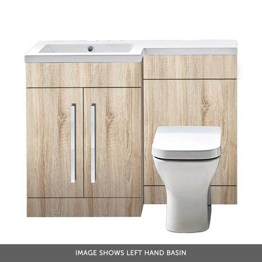 Harbour Icon 1100mm Combination Bathroom Toilet & Sink Unit - Bardolino Driftwood Oak