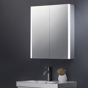 Harbour Icon Double Door LED Bathroom Mirror Cabinet with Shaver Socket - 600 x 700mm