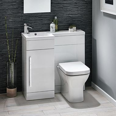 Harbour Icon Compact 900mm Furniture Suite inc. Vanity & Basin and Toilet Unit - Gloss White