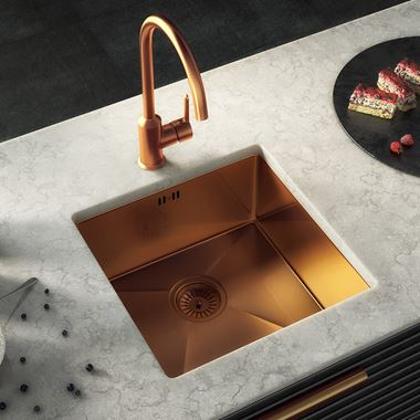 Vellamo Designer Single Bowl Inset/Undermount Brushed Copper Stainless Steel Kitchen Sink & Waste - 440 x 440mm