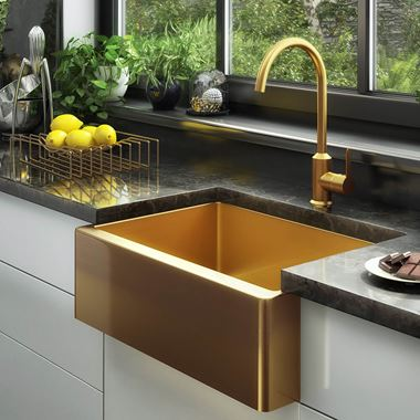 Vellamo Designer Belfast Single Bowl Brushed Gold Stainless Steel Kitchen Sink & Waste - 600 x 450mm