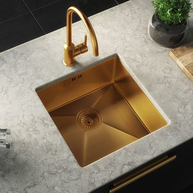 Vellamo Designer Single Bowl Inset/Undermount Brushed Gold Stainless Steel Kitchen Sink & Waste - 440 x 440mm