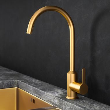 Harbour Icon Single Lever Mono Kitchen Mixer Tap - Brushed Gold