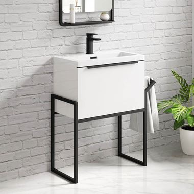 Harbour Status 600mm Wall Hung Vanity Unit & Basin - Gloss White with Matt Black Frame