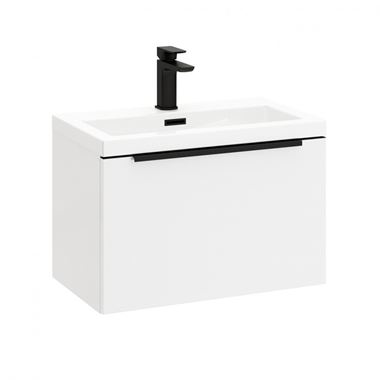 Harbour Status 600mm Wall Hung Vanity Unit & Basin - Gloss White with Matt Black Handle