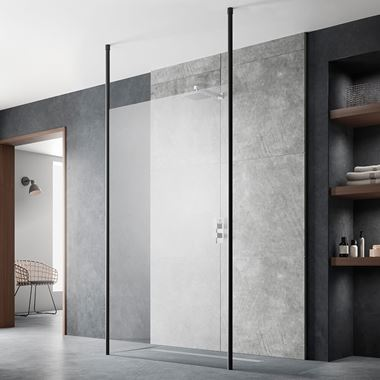 Harbour Status 8mm Matt Black Easy Clean Walk In Panel & Two Ceiling Posts - 800mm