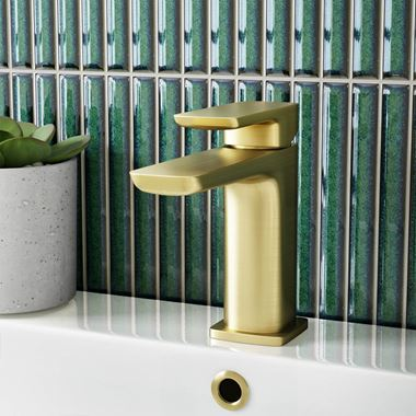 Harbour Status Brushed Brass WRAS Approved Mono Basin Mixer Tap & Waste