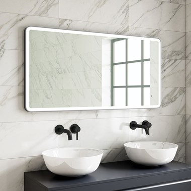 Harbour Status LED Illuminated Black Frame Mirror with Demister Pad & Colour Change LEDs - 1200 x 600mm