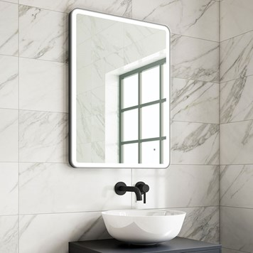 Harbour Status LED Illuminated Black Frame Mirror with Demister Pad & Colour Change LEDs - 600 x 800mm