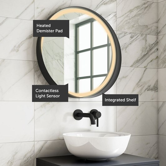 Harbour Status Led Illuminated Black Frame Round Mirror With Demister Pad Colour Change Leds 600mm Tap Warehouse