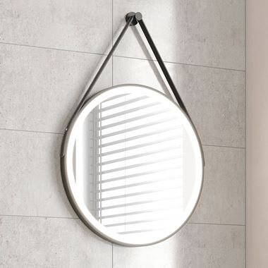 Harbour Status LED Illuminated Black Frame Round Mirror with Demister Pad, Colour Change LEDs & Strap - 600mm