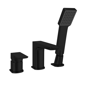 Harbour Status Matt Black 3 Hole Bath Mixer with Pull Out Handset