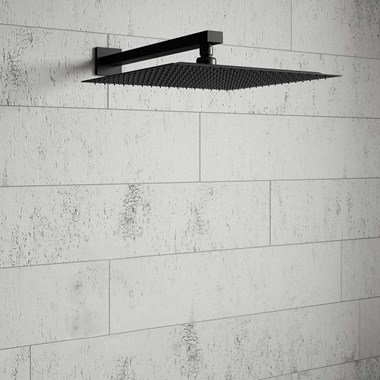 Harbour Status Matt Black Stainless Steel Square Shower Head - 300mm