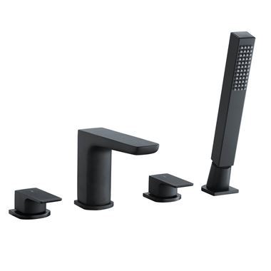 Harbour Status Matt Black 4 Hole Bath Mixer with Pull Out Handset