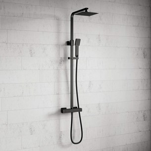 Harbour Status Matt Black Thermostatic Exposed Shower Kit