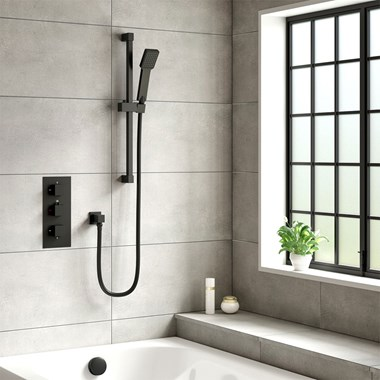 Harbour Status Matt Black Concealed Shower Valve, Shower Riser Rail Kit & Overflow Bath Filler