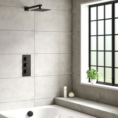 Harbour Status Matt Black Concealed Shower Valve, Fixed Wall Mounted Head & Overflow Bath Filler