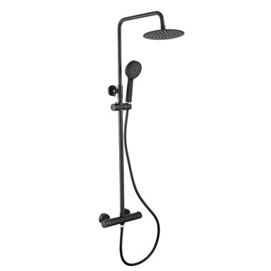 Vellamo Twist Matt Black Shower Package with Bar Valve and Adjustable Riser Rail