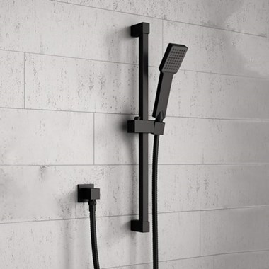 Harbour Status Matt Black Shower Riser Rail Kit With Elbow