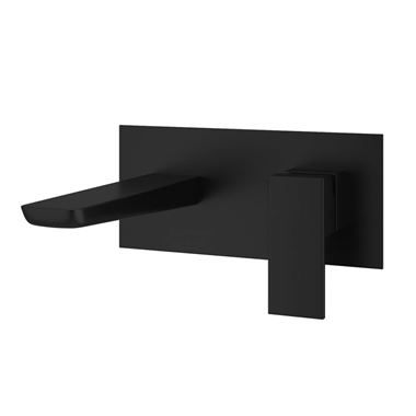 Harbour Status Matt Black Wall Mounted Bath Mixer Tap