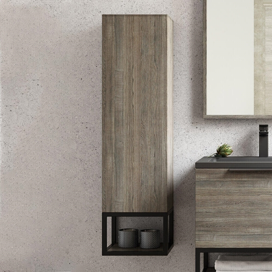 Harbour Virtue 1100mm Wall Mounted Tall, Black Bathroom Storage Cabinet