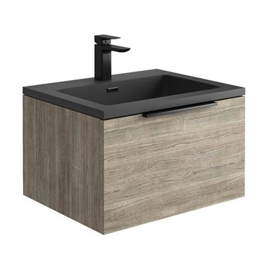 Harbour Virtue 600mm Wall Hung Vanity Unit with LED Illumination & White or Grey Basin - Grey Oak & Matt Black Handle