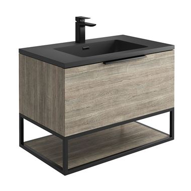 Harbour Virtue 800mm Wall Hung Vanity Unit with LED Illumination, Black Framed Shelf & White or Grey Basin - Grey Oak & Matt Black Handle