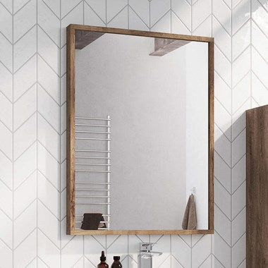 Harbour Virtue Mirror with Rustic Oak Frame - 800 x 600mm
