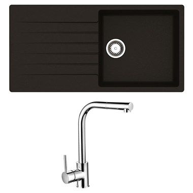 Reginox Harlem 1 Bowl Black Silvery Granite Composite Sink & Waste Kit and Vellamo Savu Pull Out Mono Kitchen Mixer