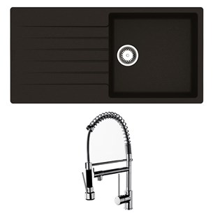 Reginox Harlem 1 Bowl Black Silvery Granite Composite Sink & Waste Kit and Vellamo Hanbury Pull Out Mono Kitchen Mixer