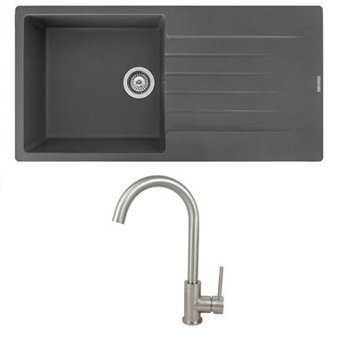 Reginox Harlem 1 Bowl Grey Silvery Granite Composite Sink & Waste Kit and Vellamo Revolve Stainless Steel Mono Kitchen Mixer