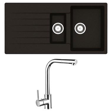 Reginox Harlem 1.5 Bowl Black Silvery Granite Composite Sink & Waste Kit and Vellamo Savu Pull Out Mono Kitchen Mixer