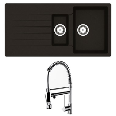 Reginox Harlem 1.5 Bowl Black Silvery Granite Composite Sink & Waste Kit and Vellamo Hanbury Pull Out Mono Kitchen Mixer