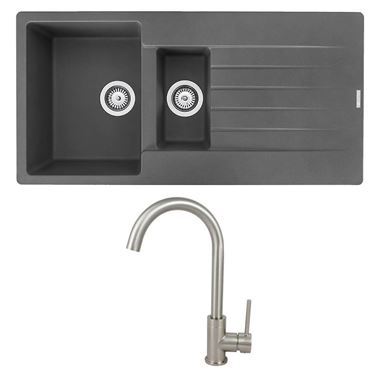 Reginox Harlem 1.5 Bowl Grey Silvery Granite Composite Sink & Waste Kit and Vellamo Revolve Stainless Steel Mono Kitchen Mixer