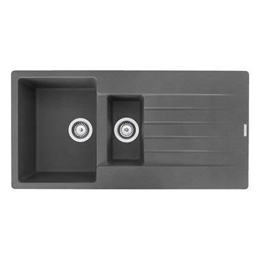 Reginox Harlem 1.5 Bowl Grey Silvery Granite Composite Kitchen Sink & Waste Kit - 1000 x 500mm