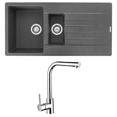 Reginox Harlem 1.5 Bowl Grey Silvery Granite Composite Sink & Waste Kit and Vellamo Savu Pull Out Mono Kitchen Mixer