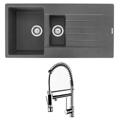 Reginox Harlem 1.5 Bowl Grey Silvery Granite Composite Sink & Waste Kit and Vellamo Hanbury Pull Out Mono Kitchen Mixer