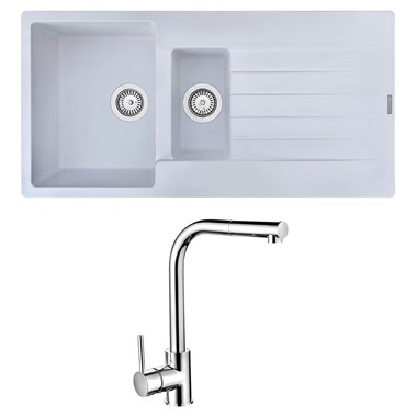 Reginox Harlem 1.5 Bowl White Granite Composite Sink & Waste Kit and Vellamo Savu Pull Out Mono Kitchen Mixer