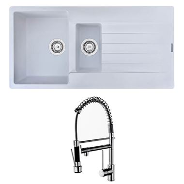 Reginox Harlem 1.5 Bowl White Granite Composite Sink & Waste Kit and Vellamo Hanbury Pull Out Mono Kitchen Mixer
