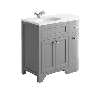 Butler & Rose Charlotte 900mm Left Hand Corner Vanity Unit & Basin - Dovetail Grey