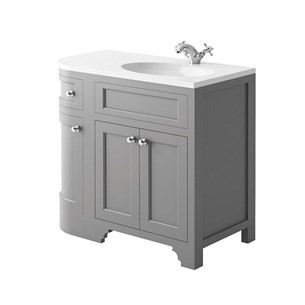 Butler & Rose Charlotte 900mm Right Hand Corner Vanity Unit & Basin - Dovetail Grey