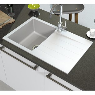 Astracast Helio 1 Bowl Opal White Granite ROK® Composite Sink & Waste Kit with Reversible Drainer - 780 x 500mm