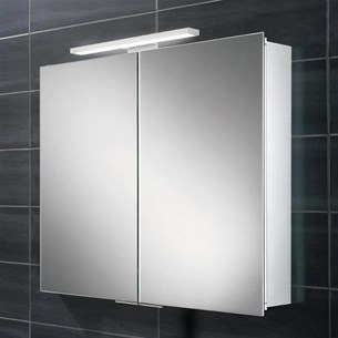 HIB Neutron LED Illuminated Mirror Cabinet with Shaver Socket