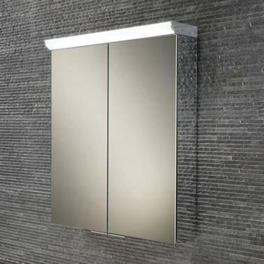 HIB Flare LED Illuminated Mirror Cabinet with Shaver Socket