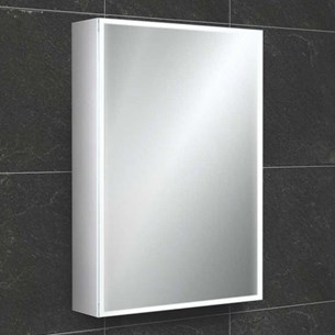 HiB Qubic LED Illuminated Mirror Cabinet with Shaver Socket