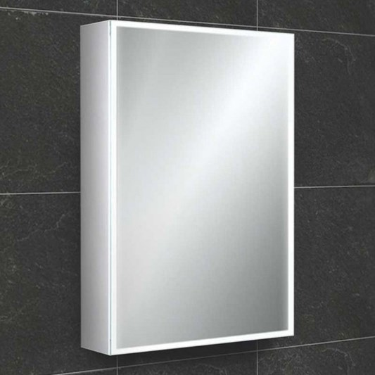 Hib Qubic Led Illuminated Mirror Cabinet With Shaver