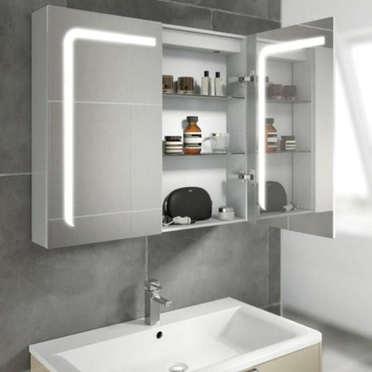 Hib Stratus Led Illuminated Steam Free, Bathroom Mirror Cabinet With Shaver Socket