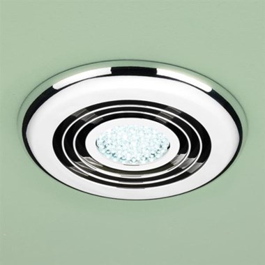 HIB Cyclone Cool White LED Illuminated Inline Chrome Wetroom Ventilation System