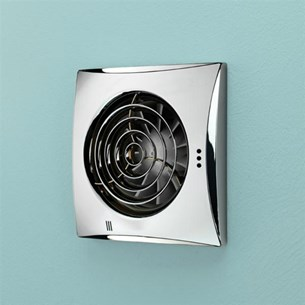 HIB Hush Chrome Wall Mounted Slimline Low Profile SELV Fan